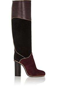LANVIN Piped Suede & Leather Knee Boots. #lanvin #shoes #boots