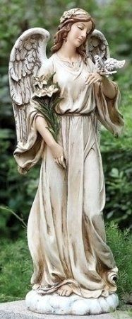 "Guardian Angel Holding Dove Garden Figure Large 24"" Tall Statue Joseph Studio"