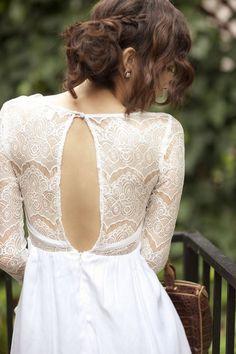 vestido de noiva decote diferente frente costas eliana zanini fashion noiva vestido