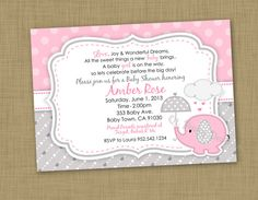DIY Printable Girl Baby shower Elephant  Invitation (DIGITAL FILE) on Etsy, $10.00