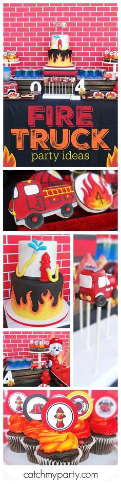 This awesome Modern Fire Truck Birthday Party is on fire! The cake pops are so cool! See more party ideas at CatchMyParty.com