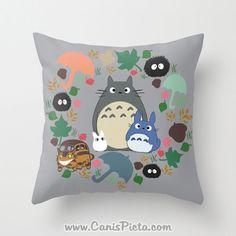 Totoro Kawaii My Neighbor Throw Pillow 16x16 Cover Anime Decorative Soot Catbus Grey Blue White Manga Troll Hayao Miyazaki Studio Ghibli