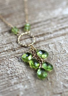 Peridot Necklace Faceted Teardrops Circle Pendant by LRoseDesigns, $70.00