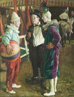 Laura Knight (English painter) 1877 - 1970 -The Three Clowns, ca. Circus Art, Circus Clown, Pierrot Clown, Circo Vintage, Le Clown, Send In The Clowns, Circus Performers, Clowning Around, English Artists