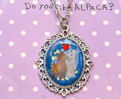 Alpaca charm pendant resin necklace glitte kawaii by Aya1gou, $18.00