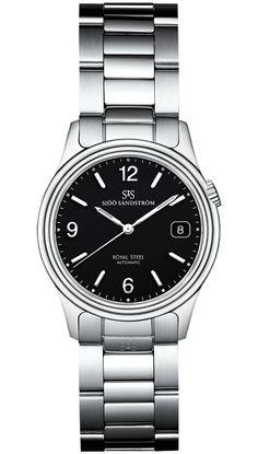 Sjöö Sandström Royal Steel Classic, steel bracelet, black dial. 37 mm.