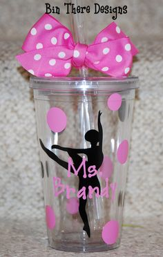 Ballet Dance Teacher tumbler  Personalized 16 by BinThereDesigns, $12.50