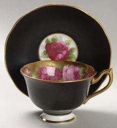 Royal Albert Old English Rose-Matte Footed Cup & Saucer Set