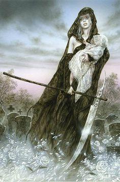 Hel goddess of death by Luis Royo Dark Fantasy Art, Fantasy Women, Fantasy Artwork, Dark Art, Norse Goddess, Norse Mythology, Legends And Myths, Luis Royo, Spanish Artists