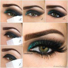 Emerald glitter makeup tutorial