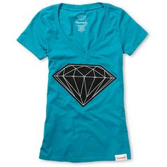 b49f49ec879794 Get that Big Brilliant shine on in this girls Diamond Supply Co t-shirt.  Slim fit with short sleeves and a deep v-neck the Big Brilliant t-shirt  features a ...
