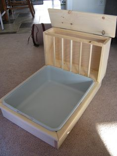 In an effort to help raise money for our local rabbit shelter, were making these hay feeder / litter pan combos.  Made from pet safe kiln dried