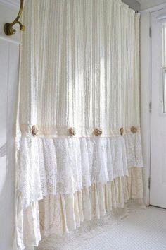 Bathroom Decor shabby chic Shabby Cottage Chic Shower Curtain Cream Chenille Lace Ruffle Girls Bohemian Bathroom Gift for Her