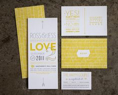 Wedding Stationery by Ross Bruggink... If I was to design my wedding invites now I think they'd look like this! I LOVE THEM! Favorite for sure!