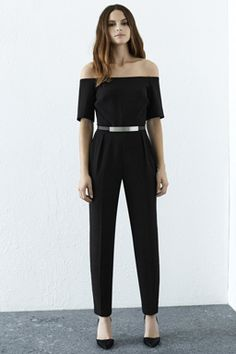 Check out this Off Shoulder Jumpsuit from Warehouse. Semi Formal Outfits For Women Parties, Formal Attire For Men, Jumpsuit Formal Wedding, Off Shoulder Jumpsuit, Black Playsuit, Black Off Shoulder, Jumpsuit Dress, How To Look Classy, Simple Outfits
