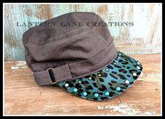 cute cute cute! Turquoise leopard hair on hide cadet cap.