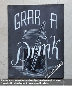 Grab a Drink - Wedding Bar Sign - Reception Bar Sign - Open Bar Sign. $39.00, via Etsy.