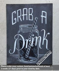 Grab a Drink - Wedding Bar Sign - Reception Bar Sign - Open Bar Sign. $39.00, via Etsy.