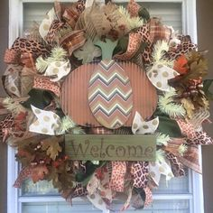 Fall Welcome Mesh Door Wreath by SouthernWreathDesign on Etsy