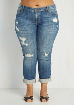 Plus Size Distressed Jeans in Mid Wash - 1X-3X