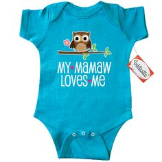 My Mamaw Grandma loves me owl Infant Creeper for a baby girl from her grandmother. $18.99 www.personalizedfamilytshirts.com