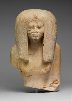 Upper Part of the Seated Statue of a Queen Period: New Kingdom Dynasty: Late Dynasty 17–Early Dynasty 18 Date: ca. 1580–1550 B.C. @themetmuseum.org