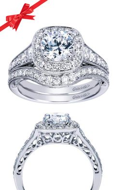 Heaven is in the details. The artistry of the Edwardian Age is alive and well in this Gabriel Round Cut Halo engagement ring.
