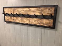 Industrial wall coat rack