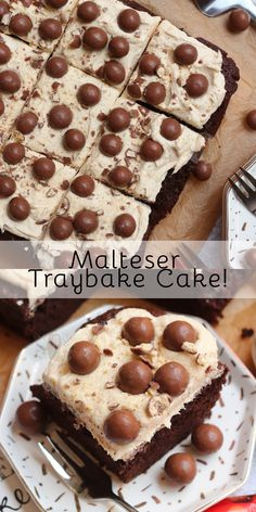 Thick and Fudgey Malteser Traybake Cake with a Malt Fudge Sponge, Malt Buttercream Frosting and Maltesers! Perfect for parties and Malteser fans! Tray Bake Recipes, No Bake Desserts, Baking Recipes, Cake Recipes, Dessert Recipes, Baking Ideas, Patisserie Cake, Janes Patisserie, Malteaser Cake