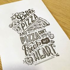You can add this one to the list of reasons to love pizza. Calligraphy Quotes, Typography Quotes, Typography Inspiration, Typography Letters, Graphic Design Typography, Lettering Design, Handwritten Quotes, Art Quotes, Hand Lettering Art