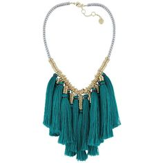 French Connection Fringes With Benefits Tassel Statement Necklace ($78) ❤ liked on Polyvore featuring jewelry, necklaces, blue, statement pendant necklace, tassel pendant necklace, blue pendant, blue necklace and blue jewelry