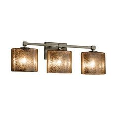 Justice Design Group Fusion Tetra 3 Light Vanity Light Finish: Brushed Nickel, Shade Color: Mercury Glass