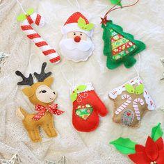 Fieltro adornos de Navidad pack de 6 por MiracleInspiration