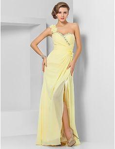 Sheath/Column One Shoulder Floor-length Chiffon Evening Dress - USD $ 148.49
