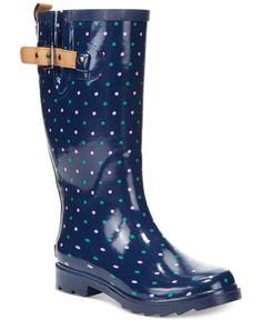Chooka Classic Dot Rain Boots size 7 in black