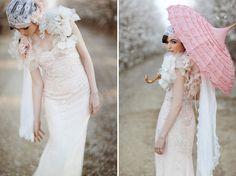 gorgeous Claire Pettibone pink ombre wedding dress