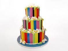 Three Tiered Flower Panel Cake