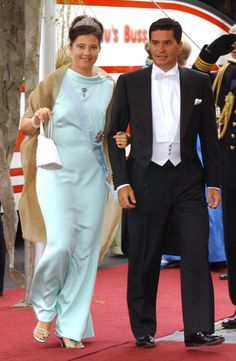 Princess Alexia of Greeve and her husband Carlos Morales arrive at Oslo Cathedral; wedding of Crown Prince Haakon of Norway and ms. Mette-Marit Tjessem Høiby, August 25th 2001