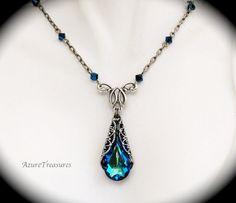 Victorian Peacock Jewelry Set Bermuda Blue by AzureTreasures, $70.00