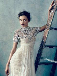 Dramatic wedding dress with silver  high neck bolero for a srtunning bridal look #weddingdress