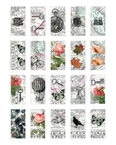 1 x 2 inch domino tiles printable download digital collage sheet vintage