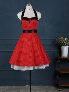 50s Vintage Red Halter Black Small Black Polk Dots Dress with Sash