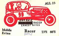 'Racer' card. From private collection of CB radio QSL cards of the 60s, 70s and 80s. QSL cards were personalized postcards that were used as a record of contact between CB radio operators.