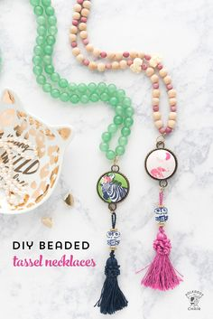 Free tutorial for a DIY Beaded Tassel Necklace with a covered button. How to make a tassel necklace or covered button necklace.