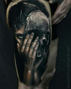 Tattoo done by: Michael Taguet #skull #skulltattoo