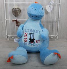 Monty The Personalised Dinosaur Personalised Teddy Bears, Smurfs, Dolls, Birthday, Character, Personalized Teddy Bears, Doll, Birthdays, Baby