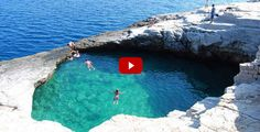 Amazing Natural Swimming Pool in Giola, Thassos, Greece. Giola Thassos is a stunning natural lagoon, like a swimming pool fixed into the rocks. The water is slightly warmer than the sea, which makes it enjoyable for swimming. Cool Swimming Pools, Natural Swimming Pools, Natural Pools, Dream Vacations, Vacation Spots, Places To Travel, Places To See, Travel Destinations, Places Around The World