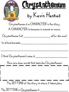 First Grade Fanatics: Chrysanthemum activities pages