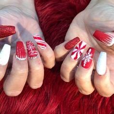 Red Christmas Nails, Christmas Nail Designs, Holiday Nails, Christmas Themes, Glitter Art, Acrylic Gel, Red Nails, Winter Nails, Nail Inspo