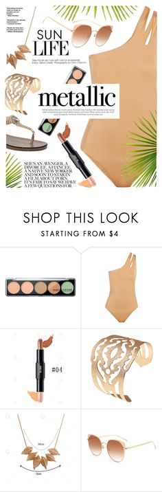 """""""Metallic swimwear"""" by yexyka ❤ liked on Polyvore featuring MAKE UP FOR EVER, Melissa Odabash and Kerr®"""